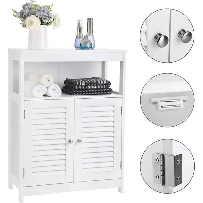 meuble bas armoire de rangement commode pour salle de bain et chambre 2 porte claire voie 2 etageres interieur