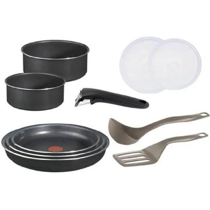 tefal ingenio 5 batterie de cuisine set de 10 pieces antiadhesif aluminium noir 2 casseroles 16 18 cm 3 poeles 20 22 26 cm