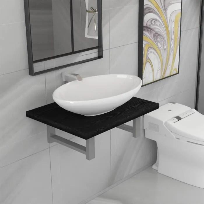 Economique Meuble De Salle De Bain 1 Etagere Murale Et 1 Lavabo Ceramique Noir Achat Vente Lavabo Vasque Economique Meuble De Salle De Cdiscount