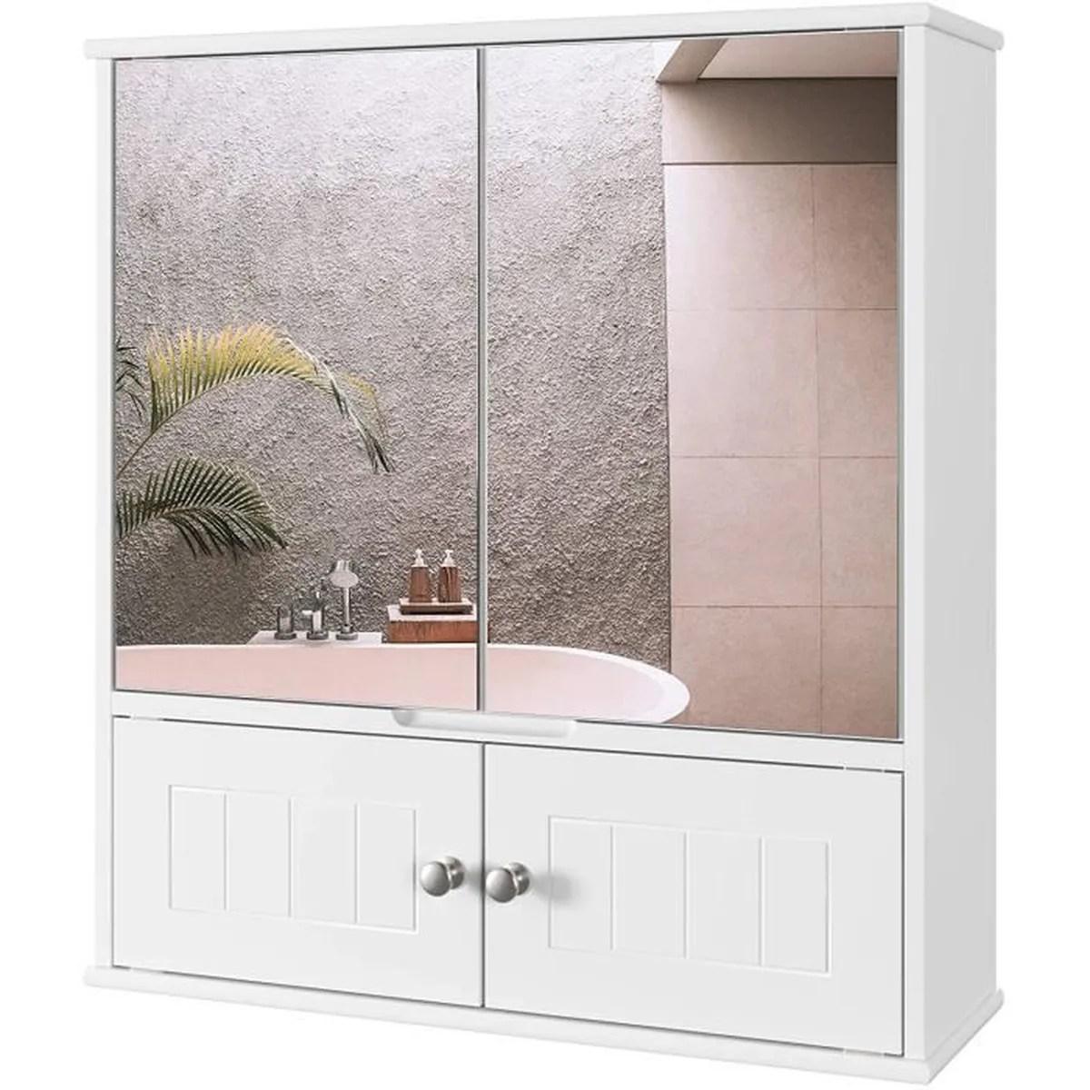Miroir De Salle De Bain Homecho Blanc Avec 2 Portes A Miroir Hd Armoire Murale Avec Miroir 55 X 17 5 X 60 Cm Achat Vente Miroir