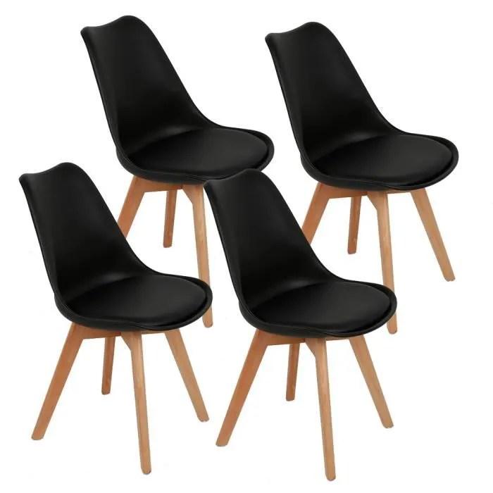 lot of 4 chaises scandinave noir