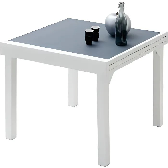 table de jardin carree extensible aluminium blanc