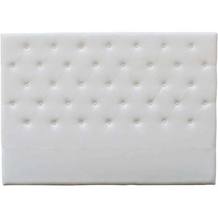 tete de lit 160 blanc capitonne