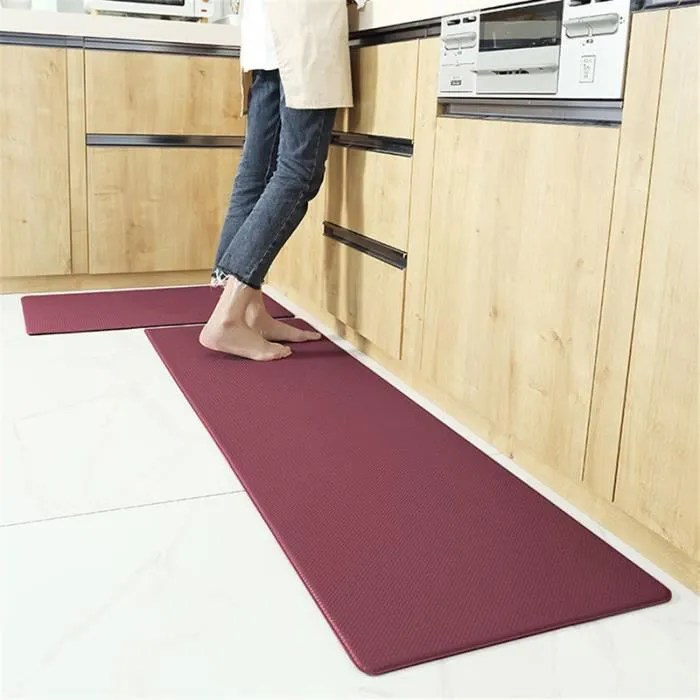tapis de cuisine rouge tapis antiderapant pu suppo