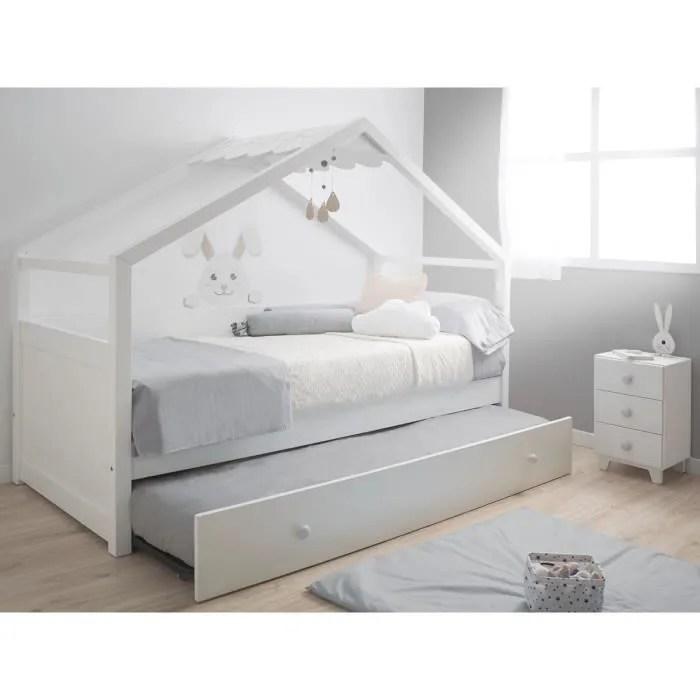 lit cabane gigogne 90x190 avec toit blanc