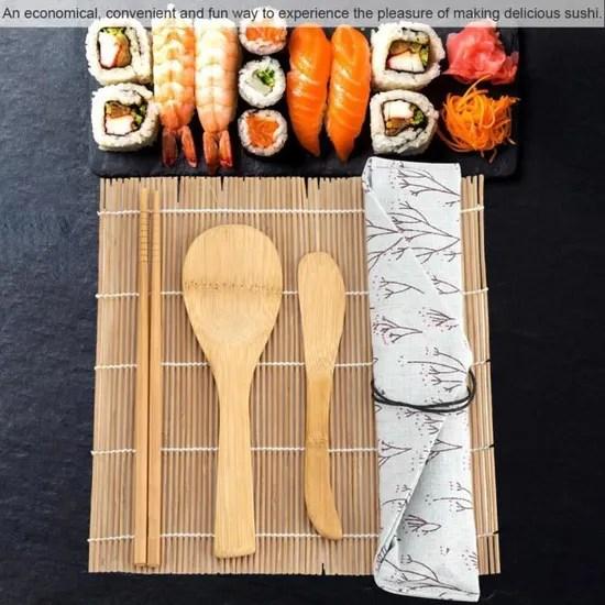 9pcs set kit de sushi en bambou comprend 2 tapis roulants 5 baguettes 1 paddle 1 sushi blade cy