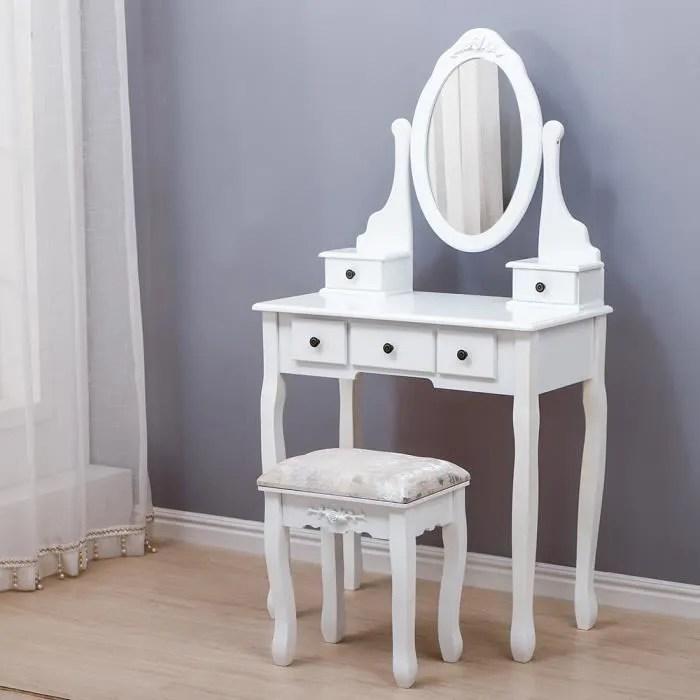 coiffeuse ovale a un miroir avec 5 tiroirs tabouret rembourre pour fille et femme blanc