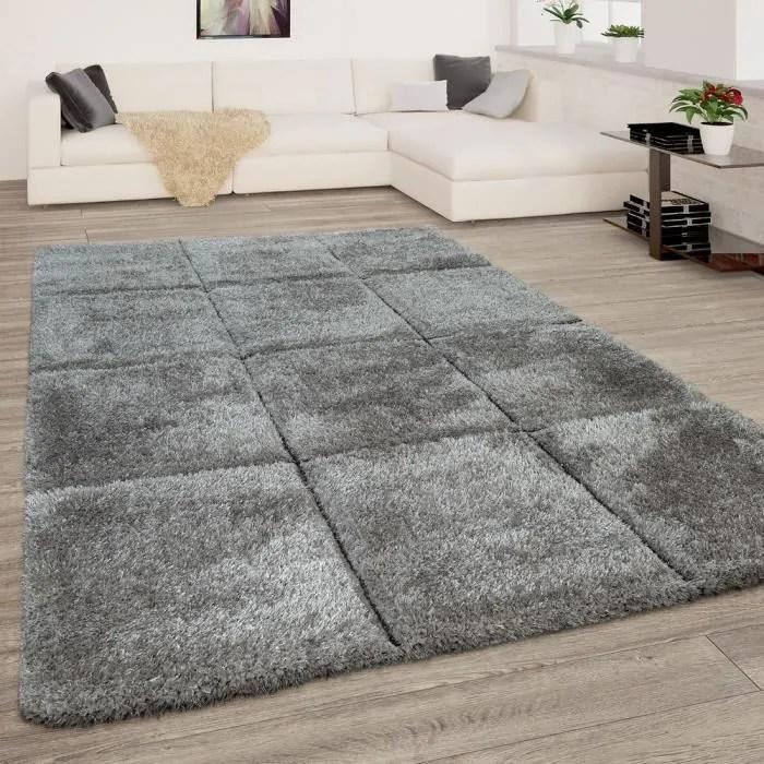 tapis salon gris anthracite doux poils longs shagg