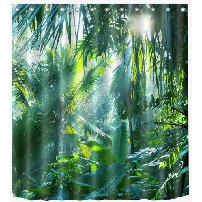 rideau motif tropical