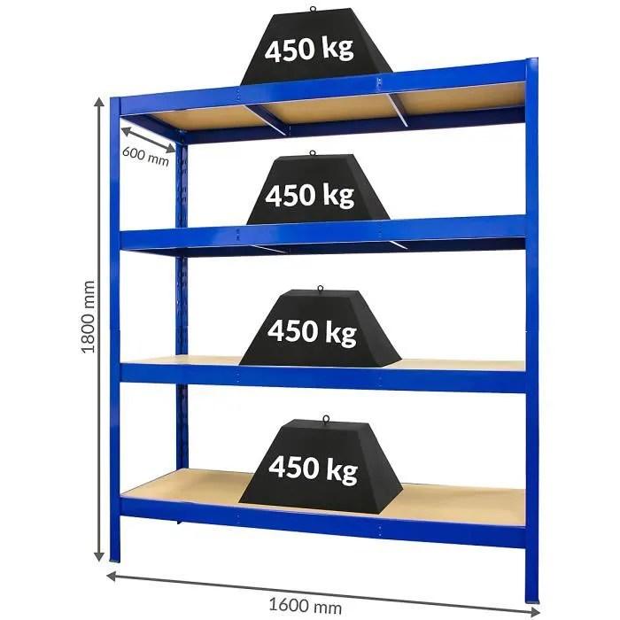 solide rayonnage pour charges lourdes profondeur 60 cm charge max par etagere 450 kg