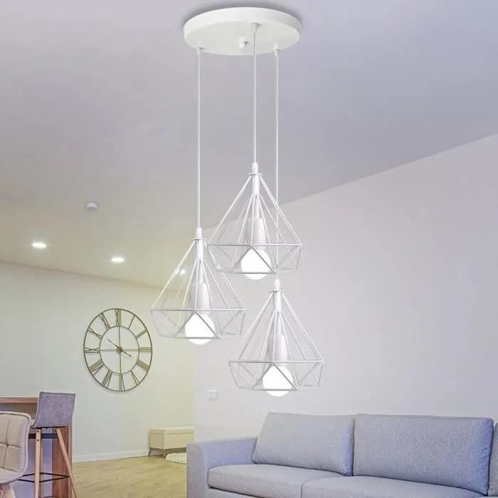 Suspension Luminaire Contemporain 3 Abat Jour Metal Blanc Plafonnier Lustre Pour Salle A Manger Achat Vente Suspension Luminaire Contem Cdiscount