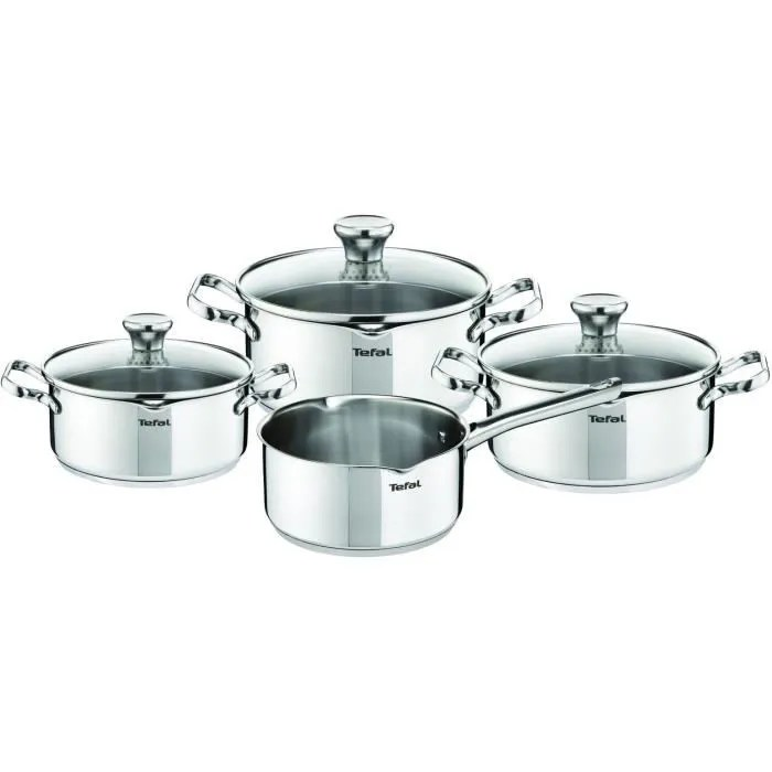 tefal a705a835 batterie de cuisine 7 pieces duetto tous feux dont induction manches fixes inox