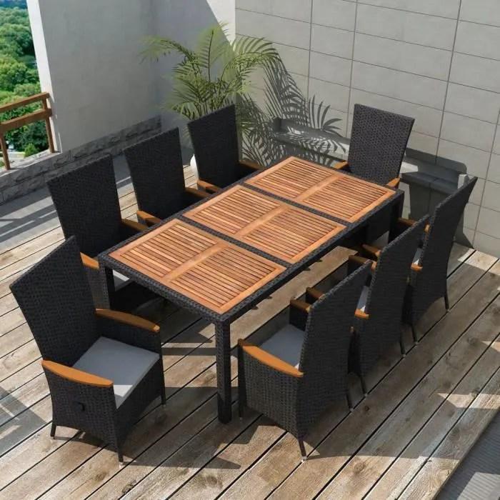 mobilier de jardin 17 pcs noir bois d