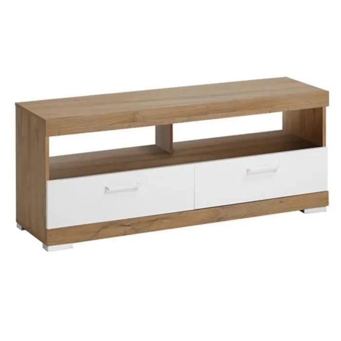 meuble tv en bois coloris chene ancien blanc brill