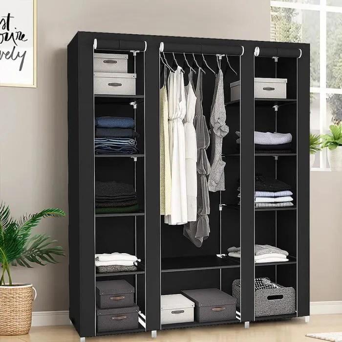 luxs armoire chambre rangement penderie de vetement en tissu noir grande capacite 175 150 45cm
