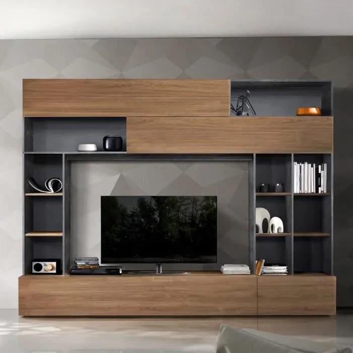 ensemble tv mural couleur noyer et gris moderne perdita marron l 277 x p 40 x h 209 cm