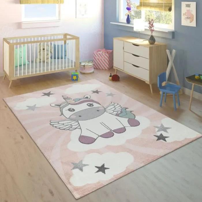 tapis enfant chambre enfant filles moderne licorne