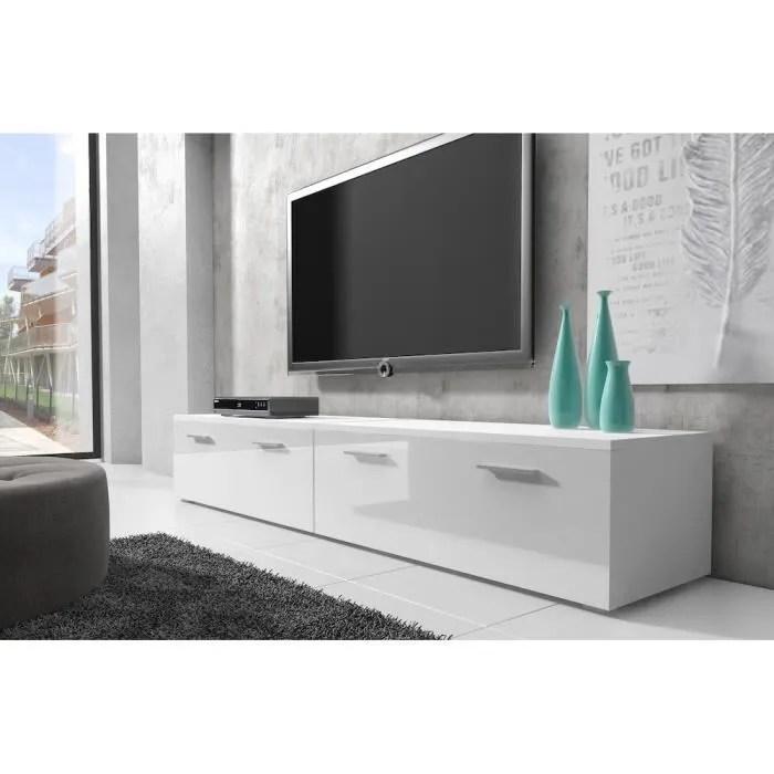 boston meuble tv contemporain decor blanc et blanc