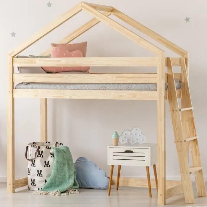 lit mezzanine lit cabane dalida 90x160 cm bois de pin echelle de cote