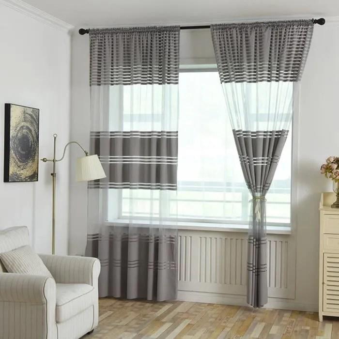 rideaux de tulle rayes modernes pour les stores de