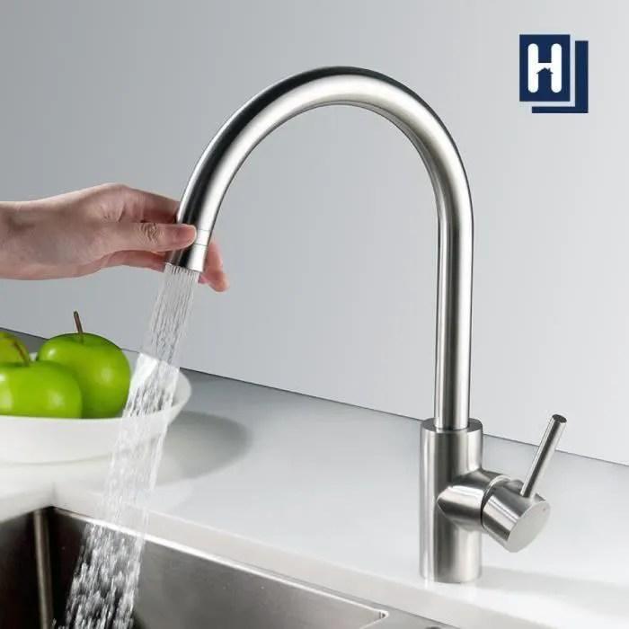 homelody robinet de cuisine brosse mitigeur rotatif a 360 mitigeur d evier avec deux types de jets en acier inoxydable solide
