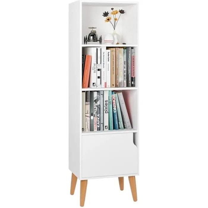 homfa bibliotheque style scandinave etagere de sol avec 4 pieds et une porte pour bureau rangementen salle en bois blanc