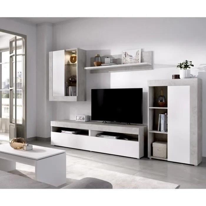 ensemble meuble tv blanc et beton l 265 x p 42 x