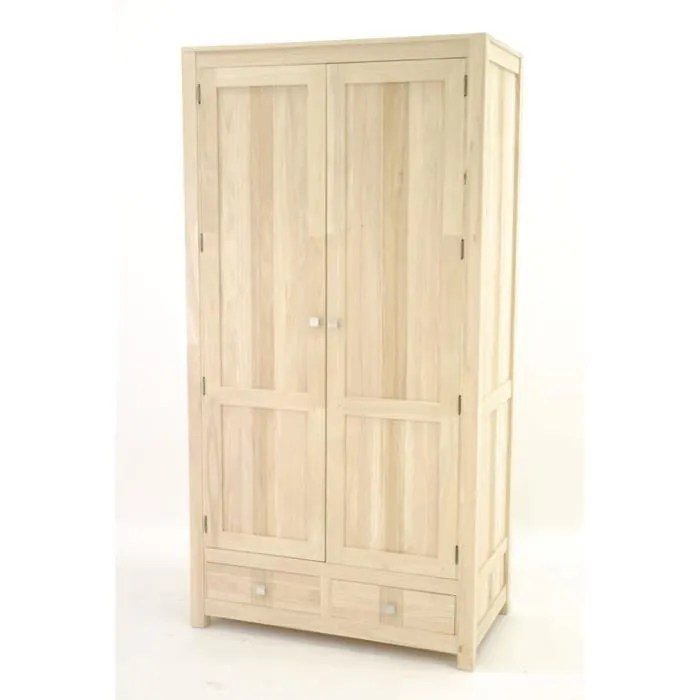 colonial armoire 2 portes 2 tiroirs rapanui finition bois brut hevea bois brut