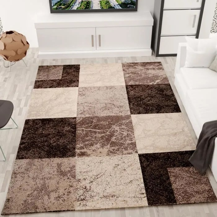 tapis salon en damier marron 80x150 cm