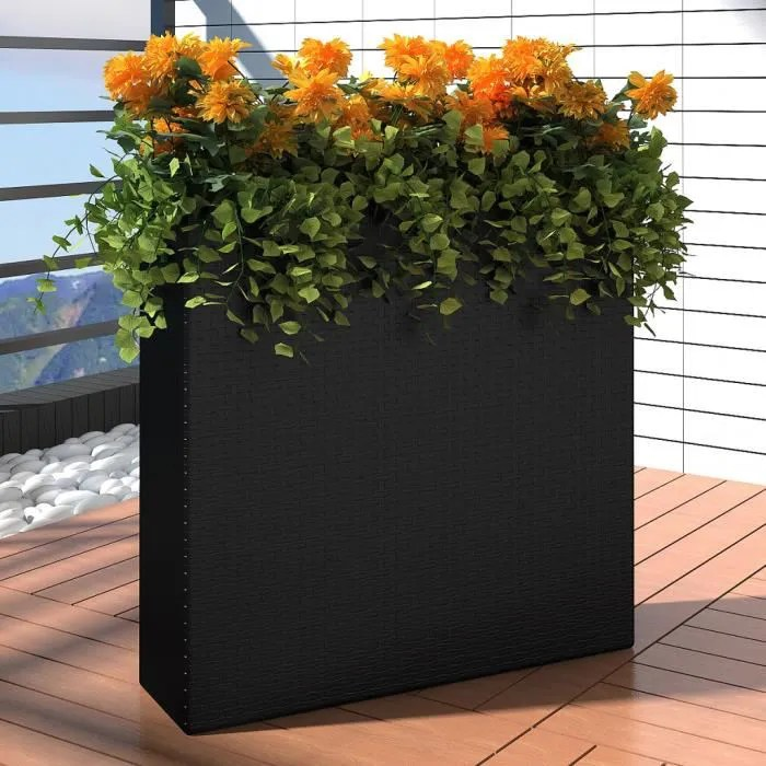 vidaxl 1 bac rectangle pot de fleurs en rotin noir