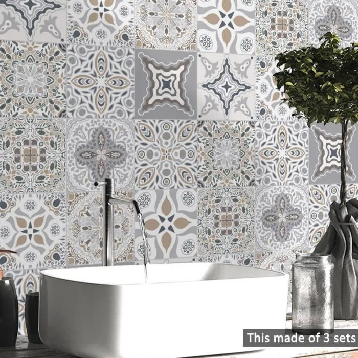 sticker carrelage gris salle bain cuisine toilett