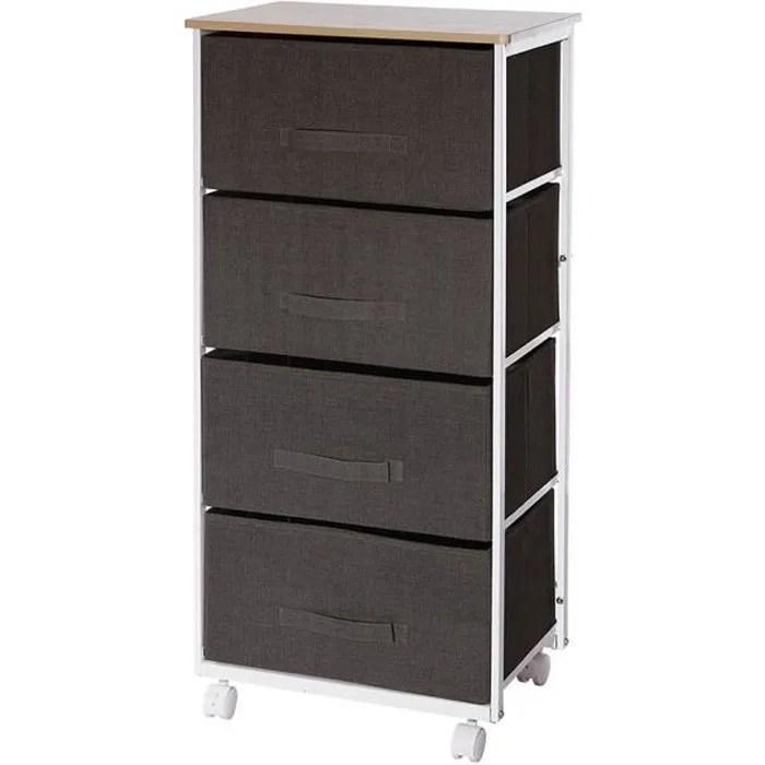 meuble de rangement 4 tiroirs gris fonce a roulett