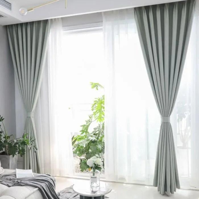 double rideaux occultant isolant thermique plisses 135x180cm vert en coton et lin velours epais pour decoration chambre salon