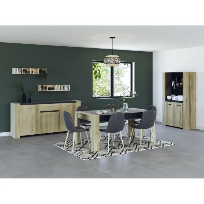 sheffield ensemble enfilade 4 portes vitrine 2 portes table l 170 cm decor chene kronberg