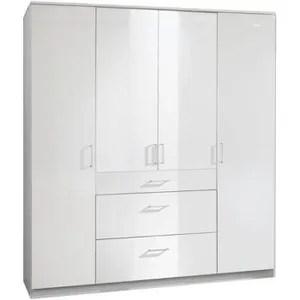 armoire blanc laque 4 portes
