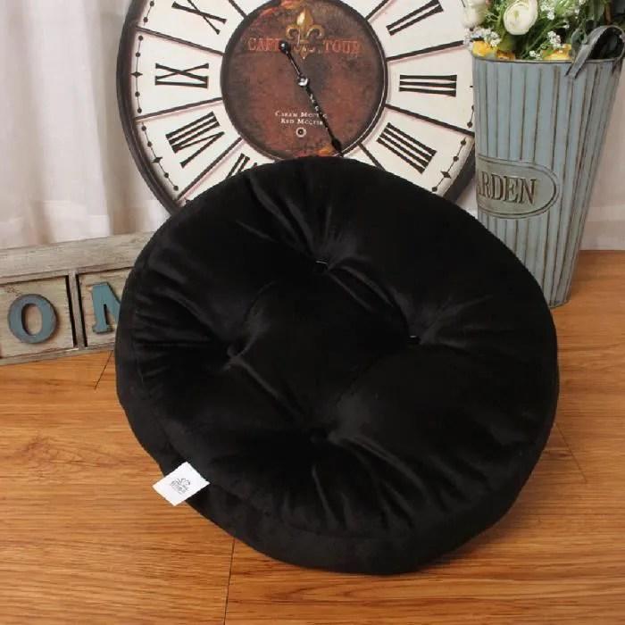 coussin chaise rond 50 50 20cm coussin polaire de corail amovible coussin de tatami chambre salon decoration canapenoir