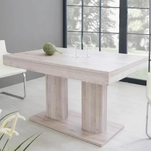 table helios 2 allonges chene blanchi
