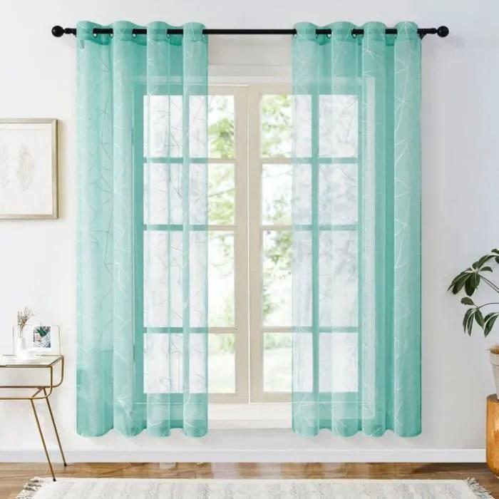 rideaux voilage turquoise