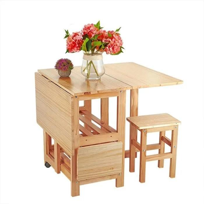 ensemble table pliante en bois de pin