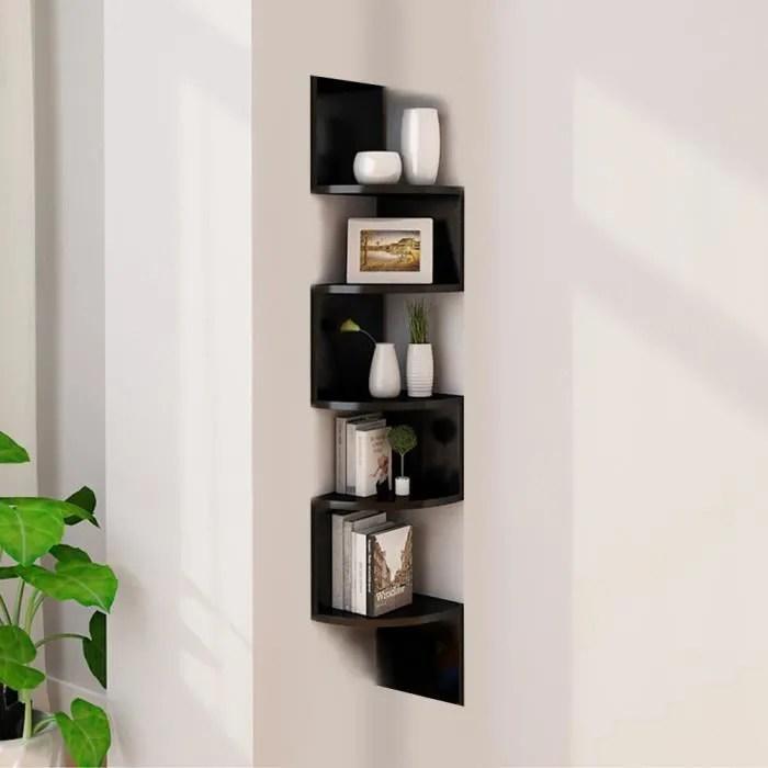 laizere 5 layers etagere d angle etagere murale etagere de chambre a coucher noir