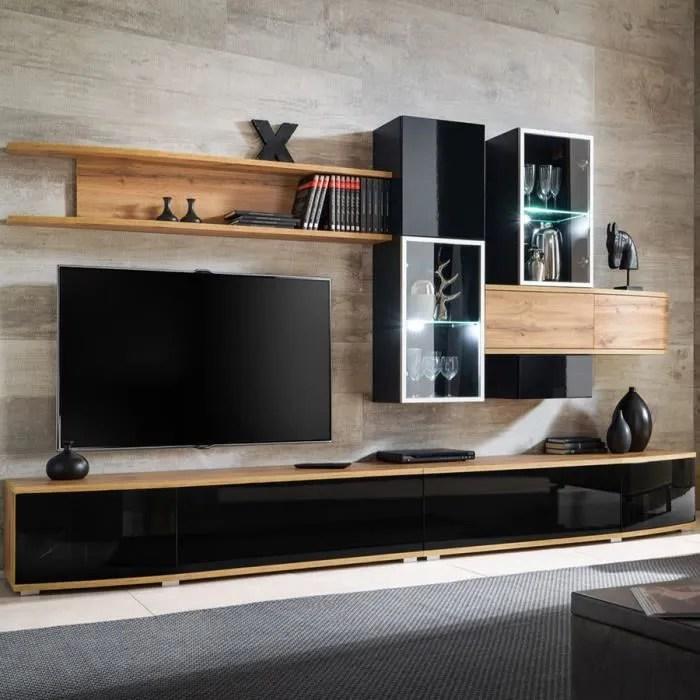 ensemble meuble tv noir et couleur bois bagnolo no