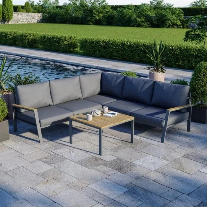 salon de jardin design aluminium bois