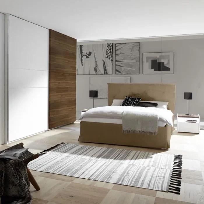 chambre a coucher moderne blanc et couleur noyer fonce delfino lit 160 cm blanc l 190 x p 220 x h 125 cm