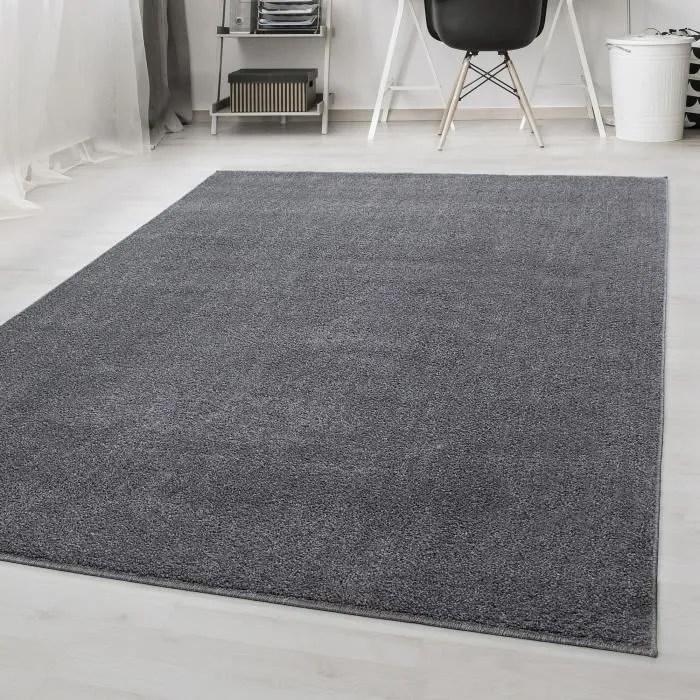 tapis uni pile courte salon moderne melange anthra