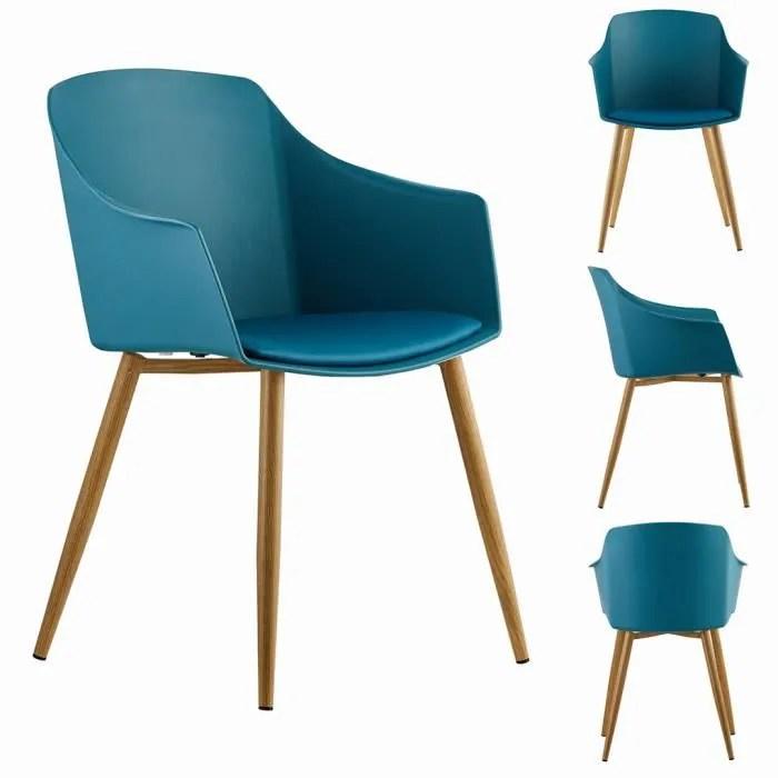 eden lot de 6 chaises design scandinave bleues accoudoirs salle a manger cuisine salon chambre