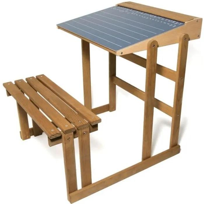 jeujura bureau d ecolier en bois teinte chene hauteur 60 cms