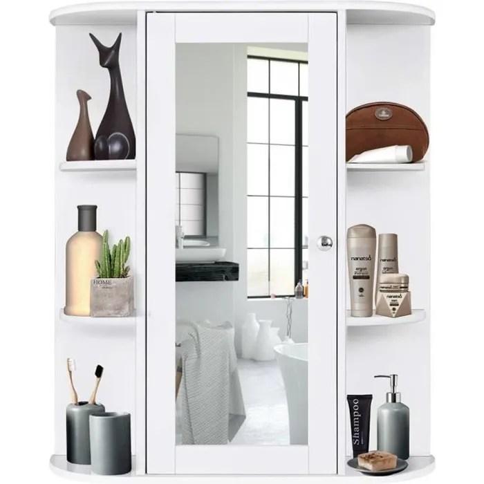 armoire murale salle de bain armoire a glace placard de rangement toilettes 1 porte avec miroir