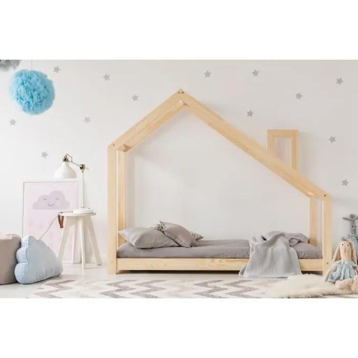 lit enfant 120 x 190 cm avec sommier et tiroir 2e couchage possible type cabane en bois naturel modele mdms