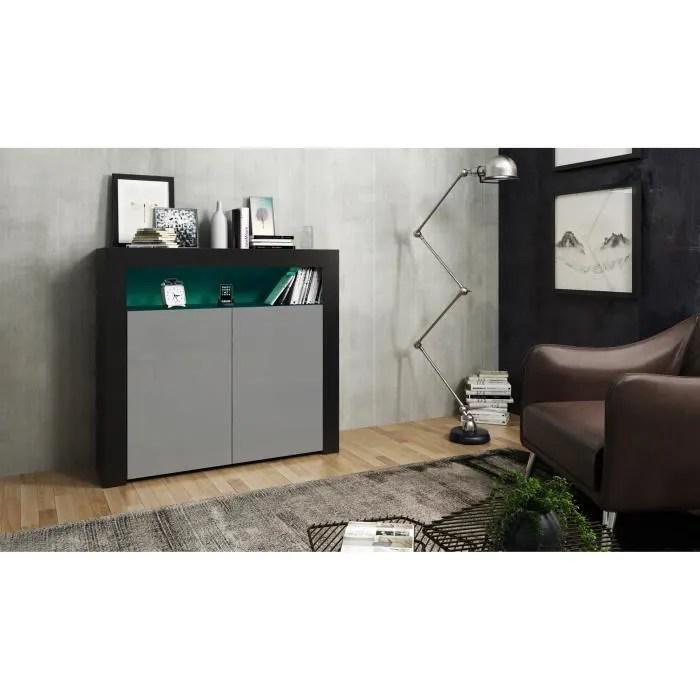meuble 107 cm en noir et gris laque led rgb