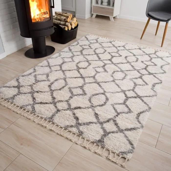 tapiso versay fringes tapis salon moderne creme gr